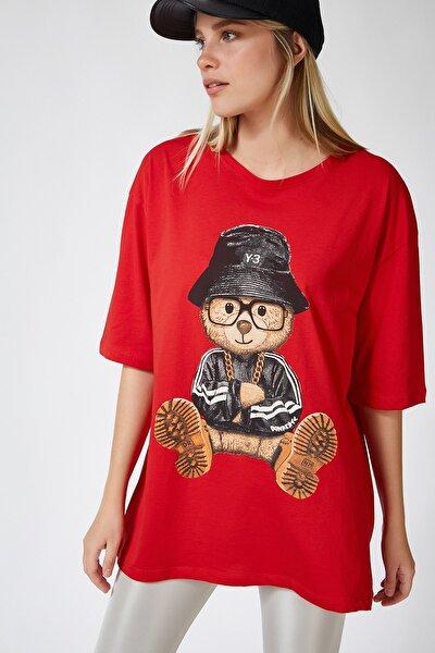 Kadın Kırmızı Baskılı Oversize Uzun Penye T-shirt ZV00105