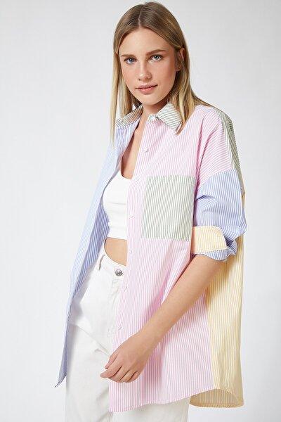 Kadın Pembe Blok Renkli Çizgili Oversize Pamuklu Gömlek HF00202