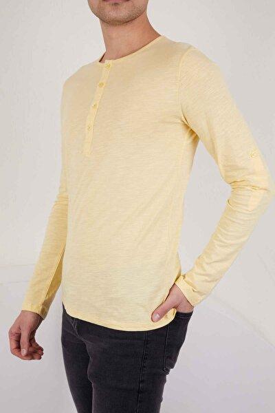 Sarı Basic Uzun Kollu Tshirt