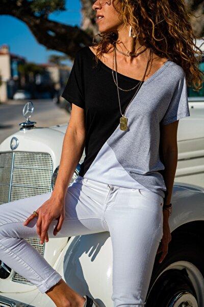 Kadın Siyah Color Block Salaş T-Shirt GK-JR402