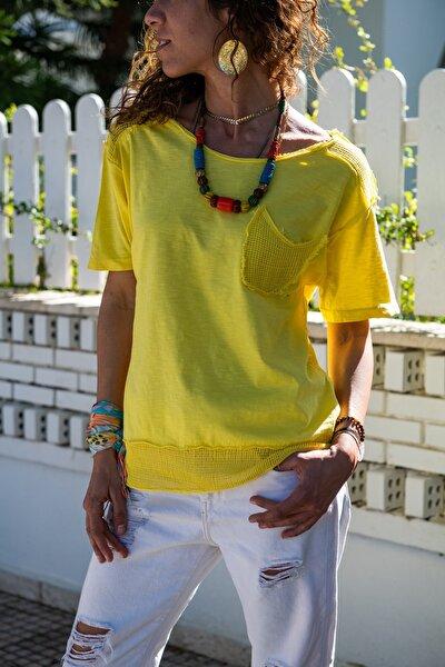 Kadın Sarı Yıkamalı Fileli Tek Cep Salaş T-Shirt GK-RSD2030