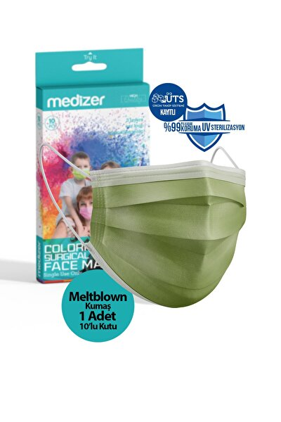 Koyu Yeşil Meltblown Kumaş Full Ultrasonik 3 Katlı Cerrahi Maske - Burun Telli 10'lu 1 Kutu