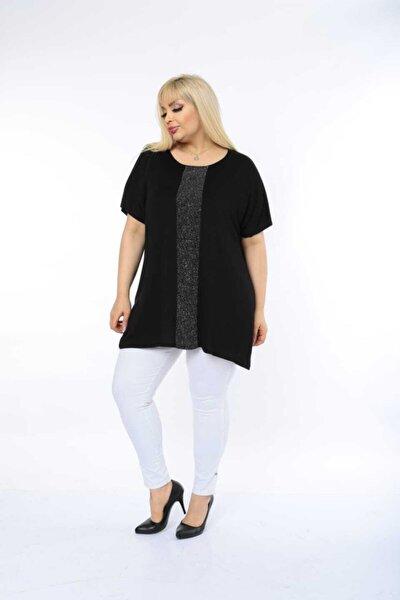 Kadın Büyük Beden Viskon Kumaş Full Likralı Siyah Bluz