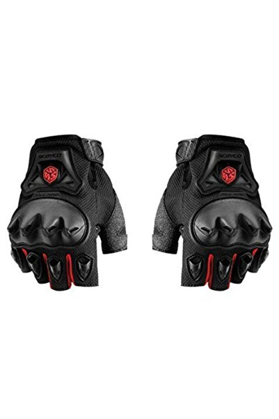 Mc29 Korumalı Kesik Motosiklet Eldiveni Kırmızı- Sıyah