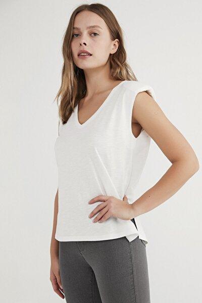 Kadın  Beyaz Shoulder Padded Günlük Tişört