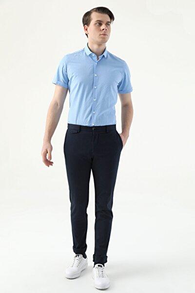 Erkek Lacivert Armürlü Twn Slim Fit Chino Pantolon