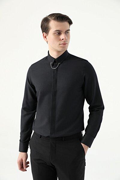 Erkek Siyah Armürlü Twn Slim Fit Gömlek