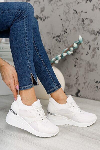 Kadın   Beyaz Mat Deri Gizli Topuk Bağcıklı Günlük Ayakkabı