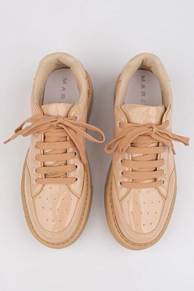 Azin Kadın Kalın Taban Sneaker AyakkabıBej Rugan