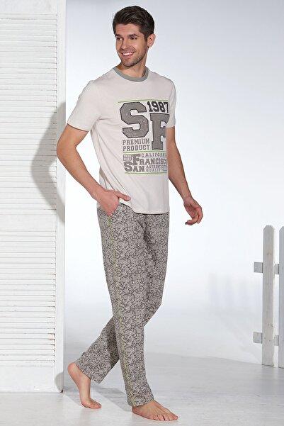 Erkek Bej Baskılı Pijama Takımı