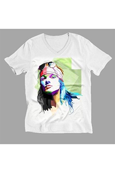 Unisex Beyaz Axl Rose Baskılı V Yaka T-Shirt Drca660