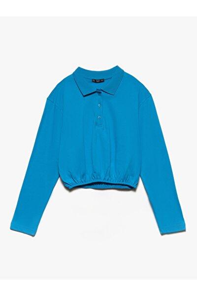 Kadın Mavi Polo Yaka Sweatshirt