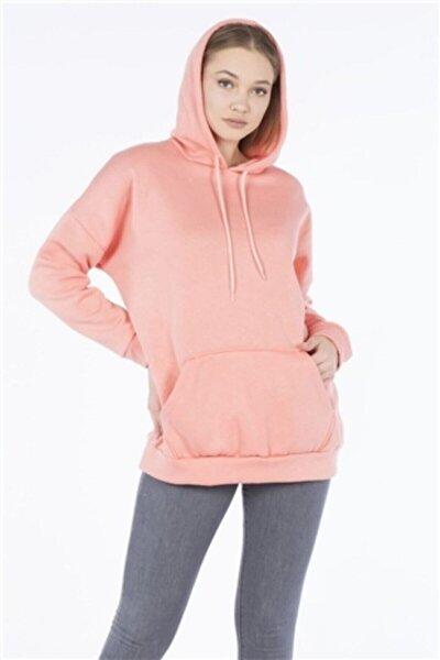 Unisex Gül Kurusu Kapüşonlu Kangru Cep Oversize Sweatshirt
