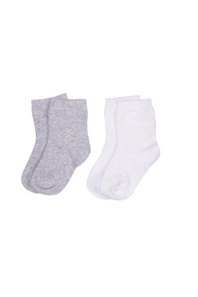 Unisex Bebek Gri Organik 2 Li Çorap 52060