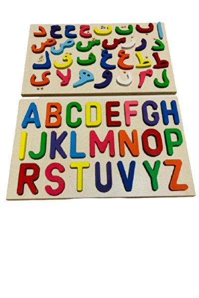 Ahşap Bultak 2'si Birarada Set Alfabe Harfler Ve Arapça Elifba Harfler Eğitici Puzzle Çocuk Oyuncağı