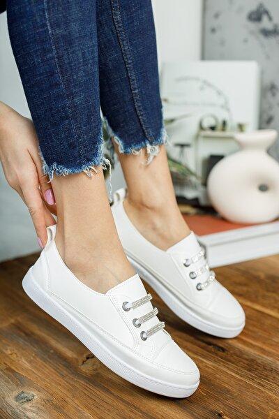 Ivy;kadın,beyaz,taş Detaylı Sneaker Ayakkabı