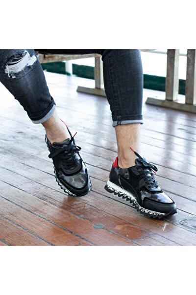 Urban Erkek Siyah Kamuflaj Hakiki Deri Günlük Ayakkabı
