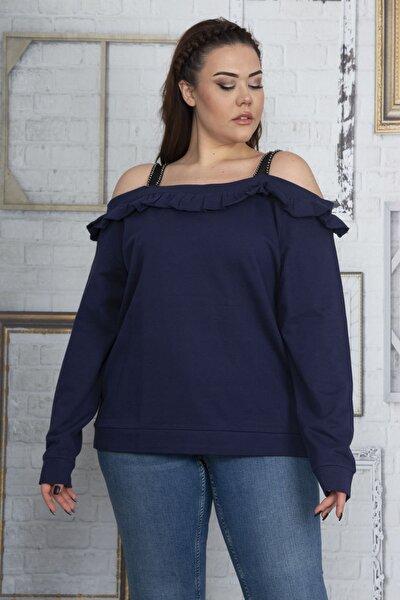 Kadın Lacivert Askılı Yaka Fırfır Detaylı Sweatshirt 65N22921