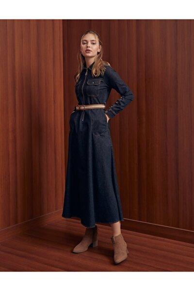 Çift Cepli Kuşaklı Denim Elbise Siyah B21 23129