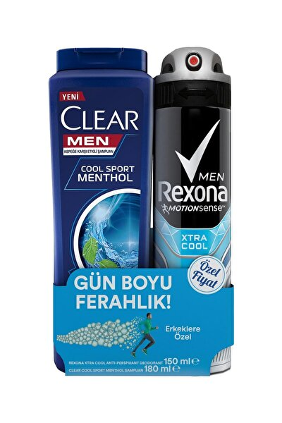 Erkek Deodorant Sprey Extra Cool 150 ml + Clear Men Şampuan Cool Sport 180 ml