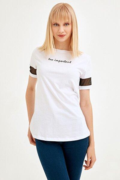 Kadın Beyaz Kolu Tül Detaylı Baskılı Tshirt