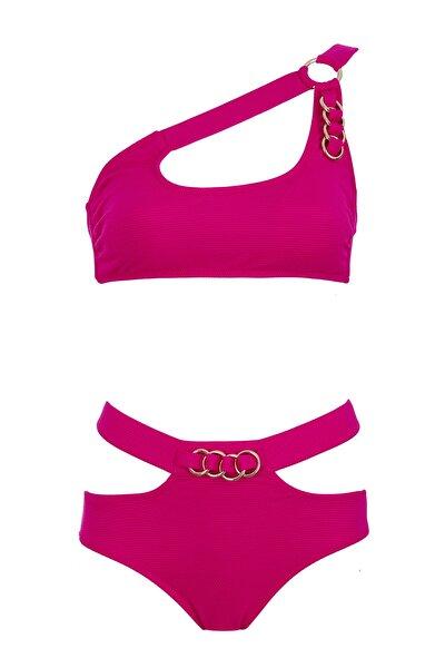 Kadın Fuşya Tek Omuz Halkalı Bikini Takım