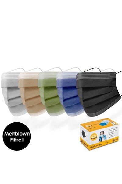 100'lü Meltblown Filtreli Gri Kahverengi Haki Lacivert Siyah Renkli Cerrahi Maske Seti (20 X 5 RENK)