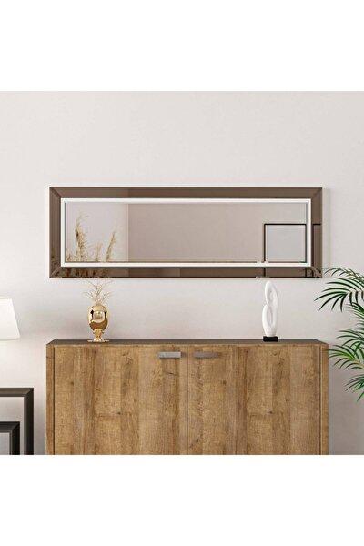 165x55 Bronz Kenarlı Ayna Duvar Salon Genç Odası Beyaz Çıtalı Ayna
