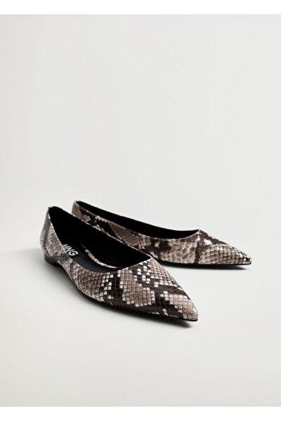 Yılan Derisi Görünümlü Maryjane Ayakkabı