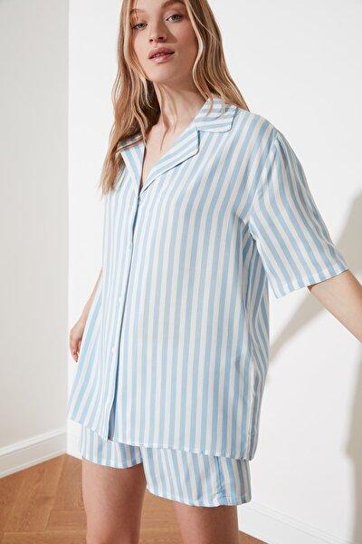 Mavi Çizgili Dokuma Pijama Takımı THMSS21PT0179