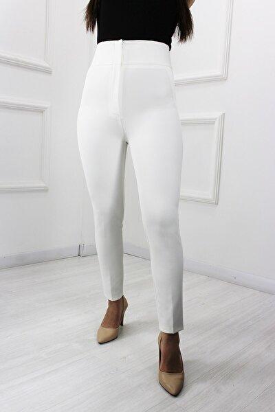 Kadın Beyaz Pantolon Yüksek Bel 65297