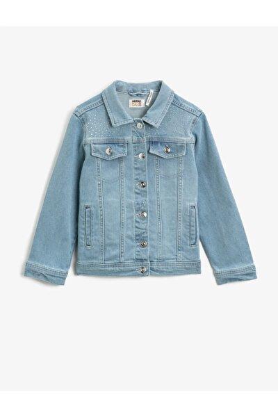 Kız Çocuk Mavi Moda Lüx Taşlı Cepli Klasik Yaka Pamuklu Jean Ceket 1ykg57145od740