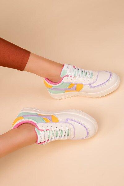 Kadın Bej-mor Bayan Spor Sneaker