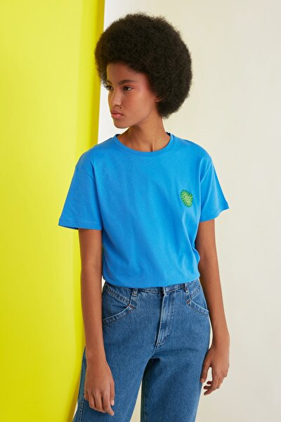 Saks Semifitted Baskılı Örme T-Shirt TWOSS21TS0338