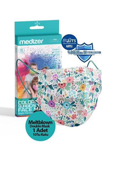 Bahar Çiçekleri Desen Meltblown Ultrasonik 3 Katlı Cerrahi Maske 10'lu 1 Kutu - Burun Telli