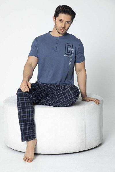 Erkek Süprem Kısa Kollu Altı Desenli Pijama Takımı