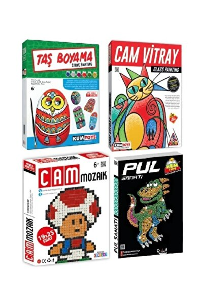Pul,taş Boyama,cam Vitray,cam Mozaik Sanatı 4lü Set
