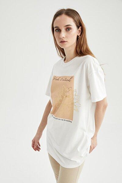 Slogan Baskılı Oversize Fit Kısa Kollu Tişört Tunik