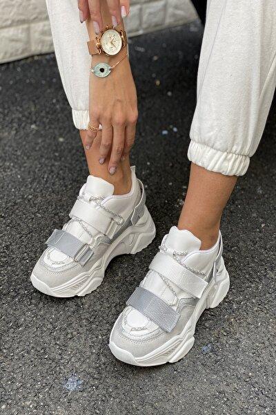 Kadın Gr Beyaz Cırtlı Sneakers