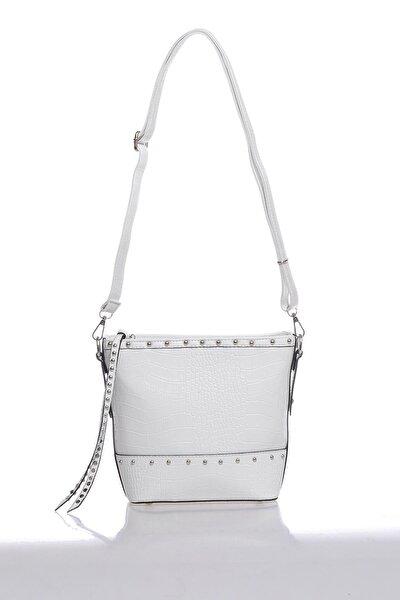 Luxury Mpist9143 Kroko Beyaz Kadın Omuz Çantası