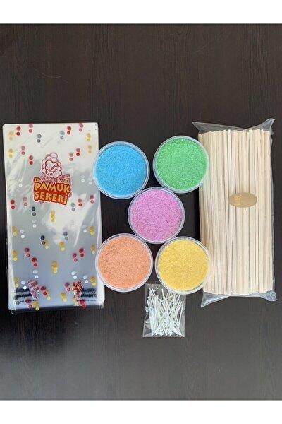Ev Tipi Pamuk Şeker Üretim Seti 5 Çeşit Aroma 400 Gr. 50 Çubuk Poşet Klips