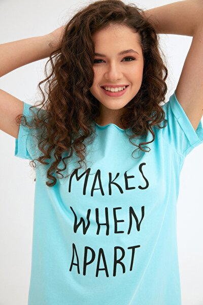 Kadın Mavi Önü Yazı Baskılı Tshirt