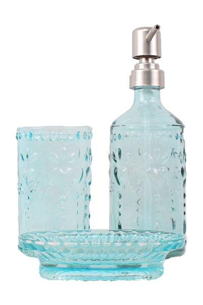 Cam Banyo Seti 3 Lü Sıvı Sabunluk Diş Fırçalık Kuru Sıvı Sabunluk