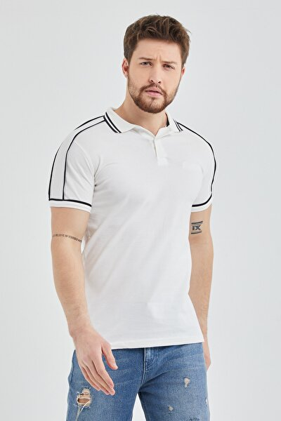 Erkek Beyaz Slim Fit Biyeli Polo Yaka T shirt