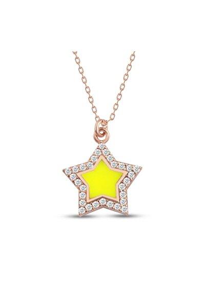 Yıldız Gümüş Kolye Neon Sarı