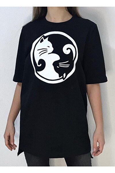 Kadın Siyah Yingyang Cats Oversize Uzun T-shirt
