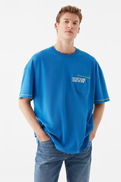 Erkek The Past Is Gone Baskılı Mavi Tişört 066565-33522