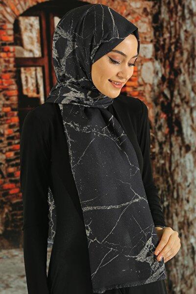 Kadın Siyah Desenli Pamuk Şal Tmeds 097