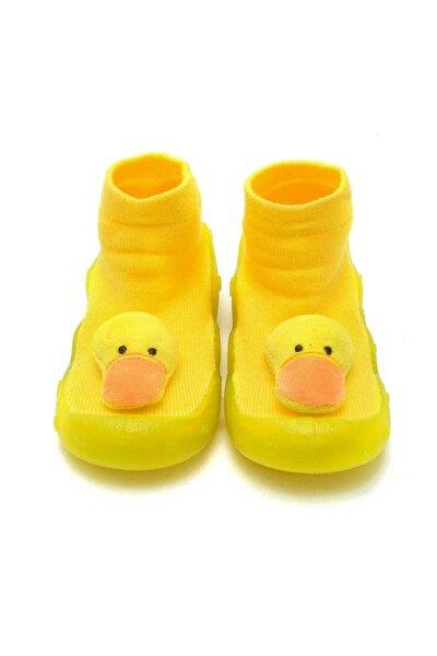 Sarı 3 Boyutlu Ördek Figürlü Altı Kaymaz Silikon Çocuk Panduf Ayakkabı C-26-1
