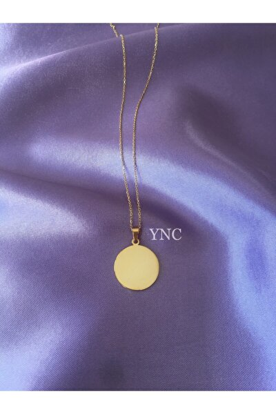 925 Ayar Gümüş Yuvarlak Plaka Kolye (gold)